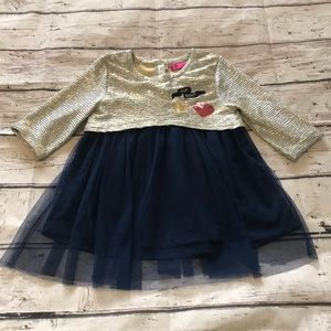 Betsey Johnson Gold & Navy Tulle Top Size 5/6